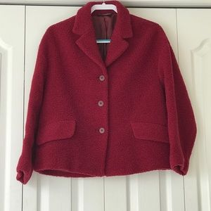 Laura Ashley red wool vintage 3 button jacket.  6
